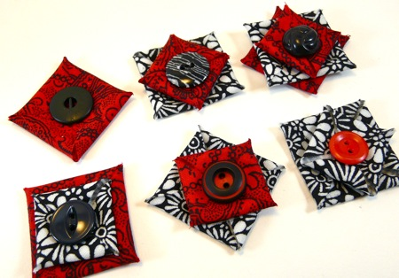 Diane's button-fabric jewelry